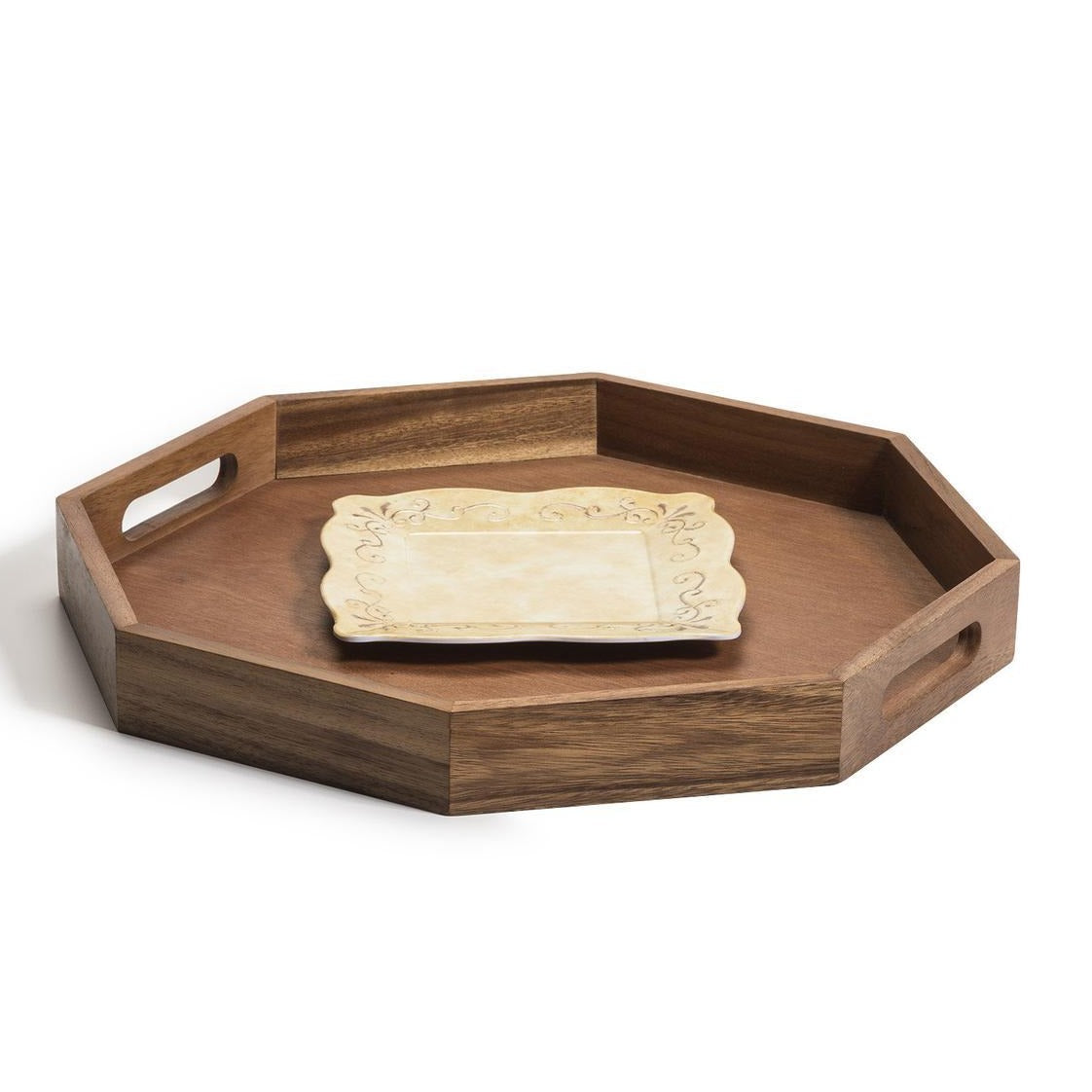17 inch octagon acacia wood serving tray with plate