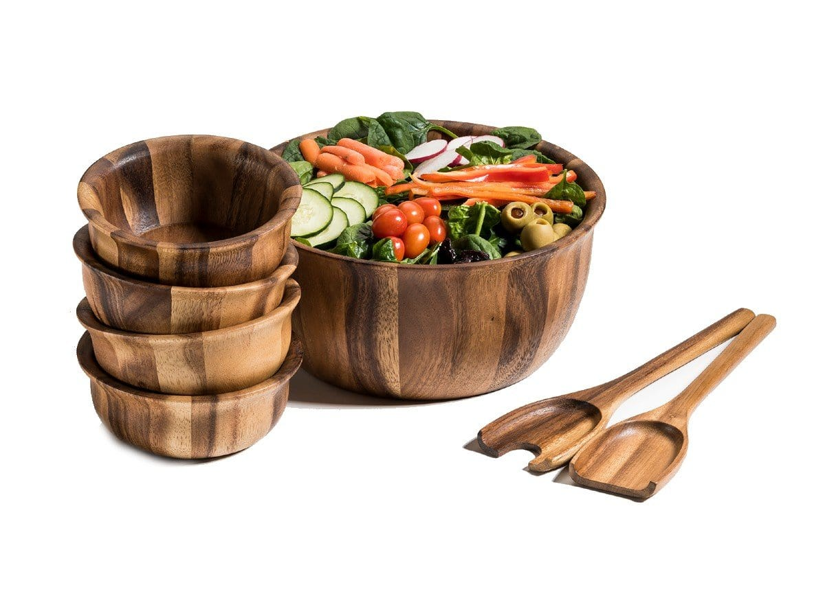 7 Piece - Large Acacia Wood Salad Bowl & Server Set (335B-7)