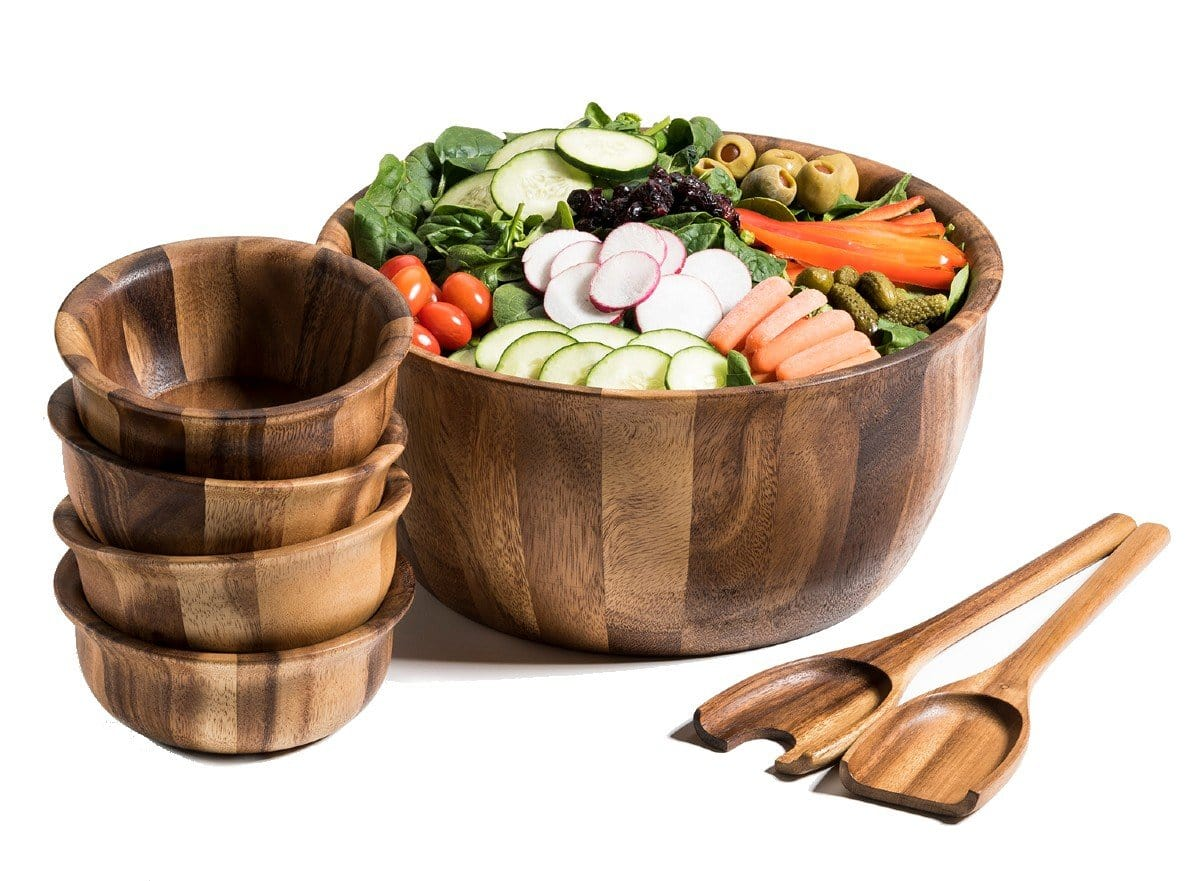 7 Piece - Extra Large Acacia Wood Salad Bowl & Server Set (335C-7)