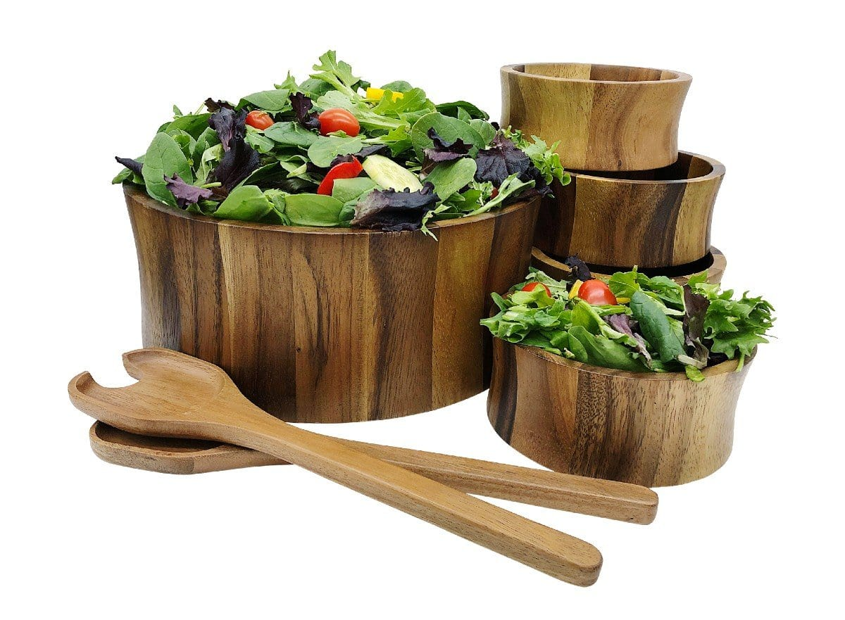 7 Piece - Extra Large Acacia Wood Salad Bowl & Server Set (328C-7)