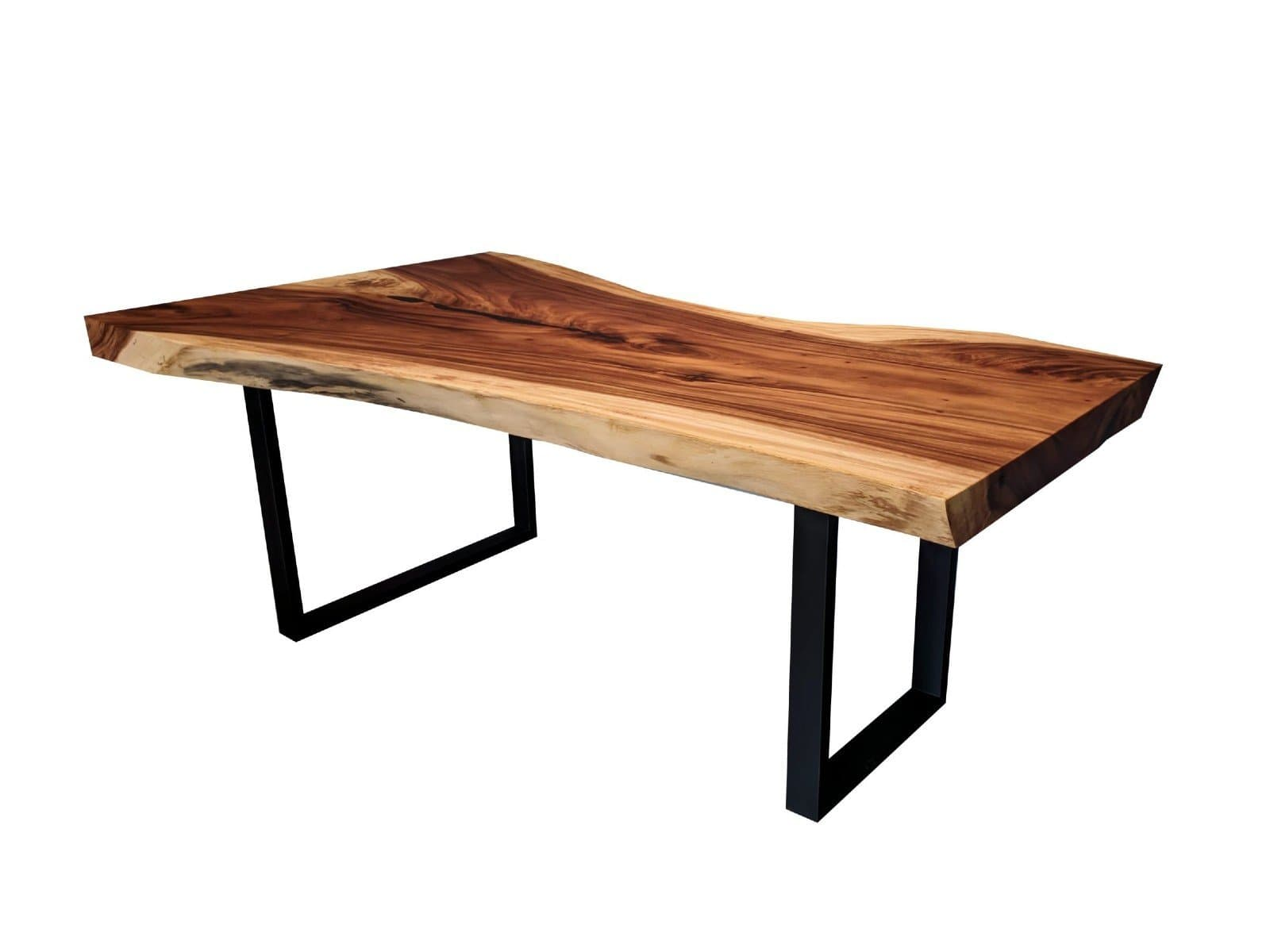 79 By 47 Inch Natural Acacia Wood Slab Dining Table With Metal Legs