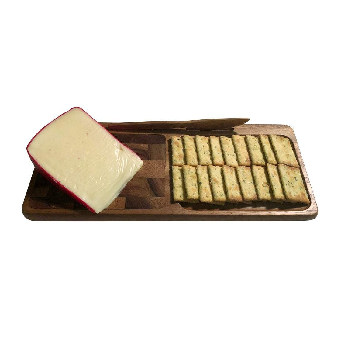 Acacia Wood Charcuterie Board with Cheese Crackers and Knife