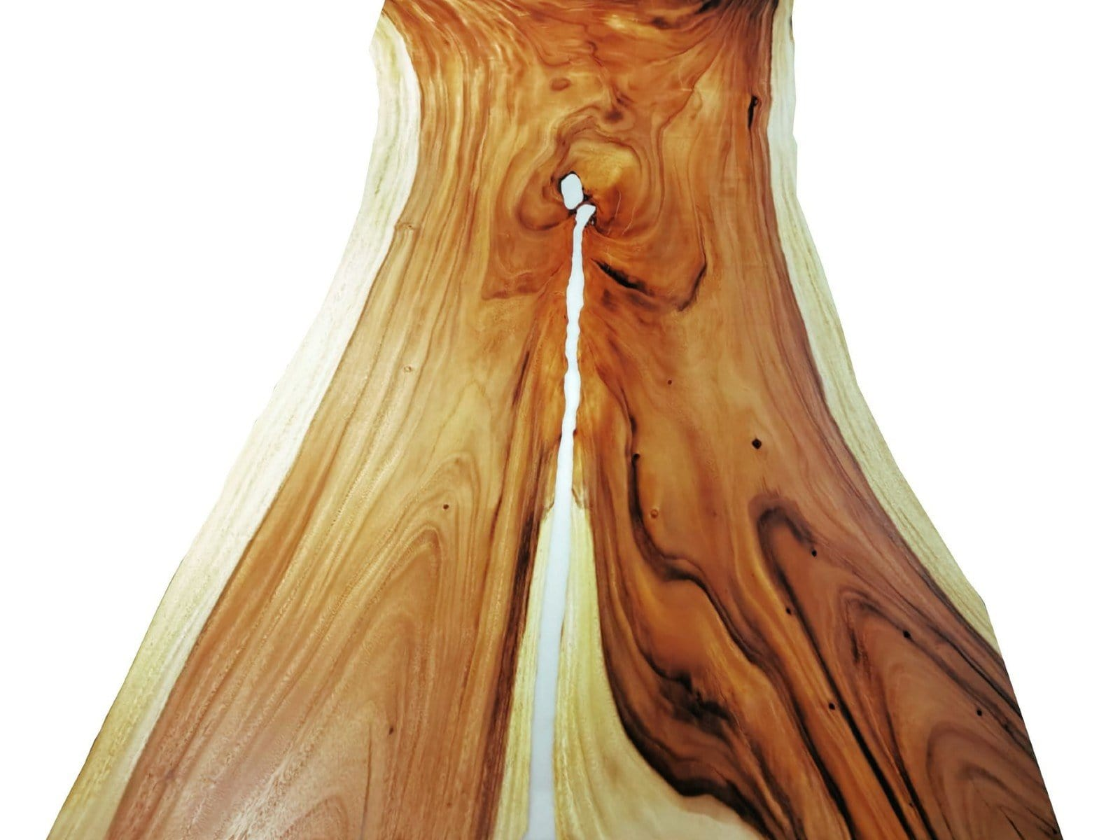 Top View Of Finished Acacia Wood Slab With White Epoxy Resin Inlays