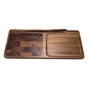 End Grain Acacia Wood Cheese Board with Knife