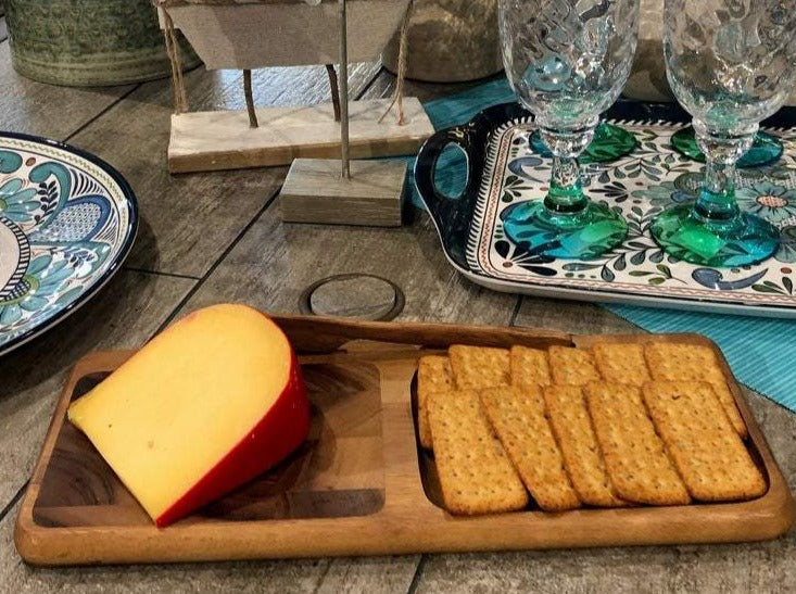 Cheese and Crackers on Acacia Wood Cheeseboard