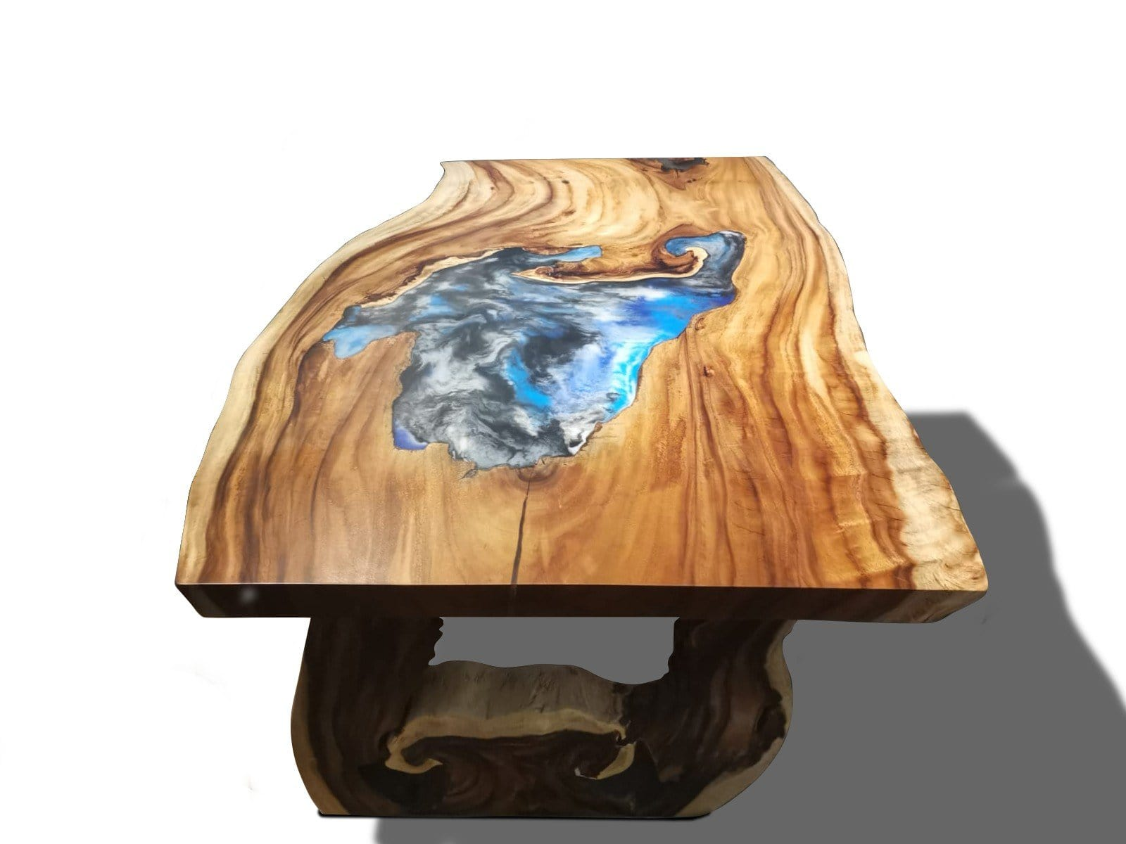 End View Of Acacia Wood Live Edge Dining Table with Epoxy Resin River