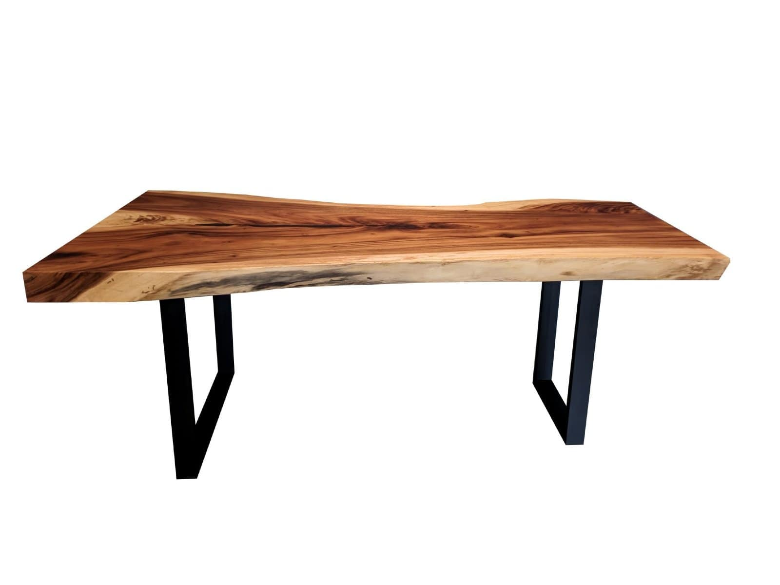 Natural Acacia Wood Table With Metal Legs
