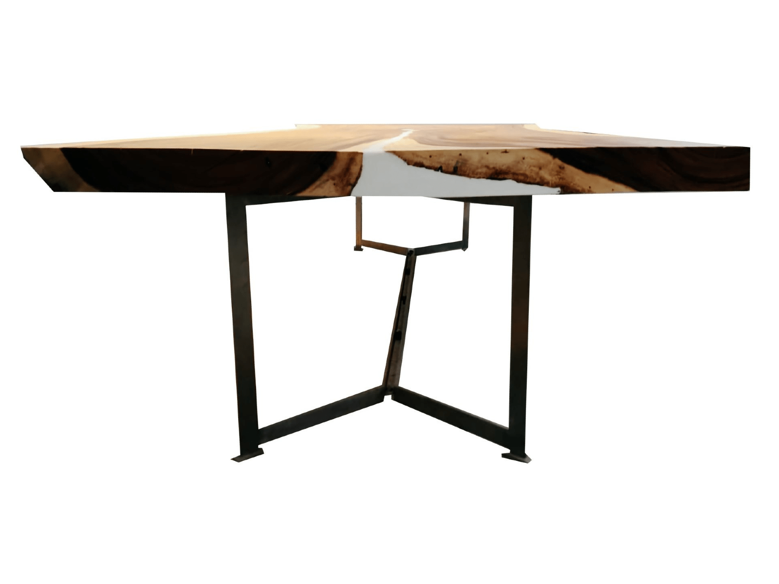 Side View Of Acacia Wood Live Edge Dining Table with White Epoxy Resin Inlay