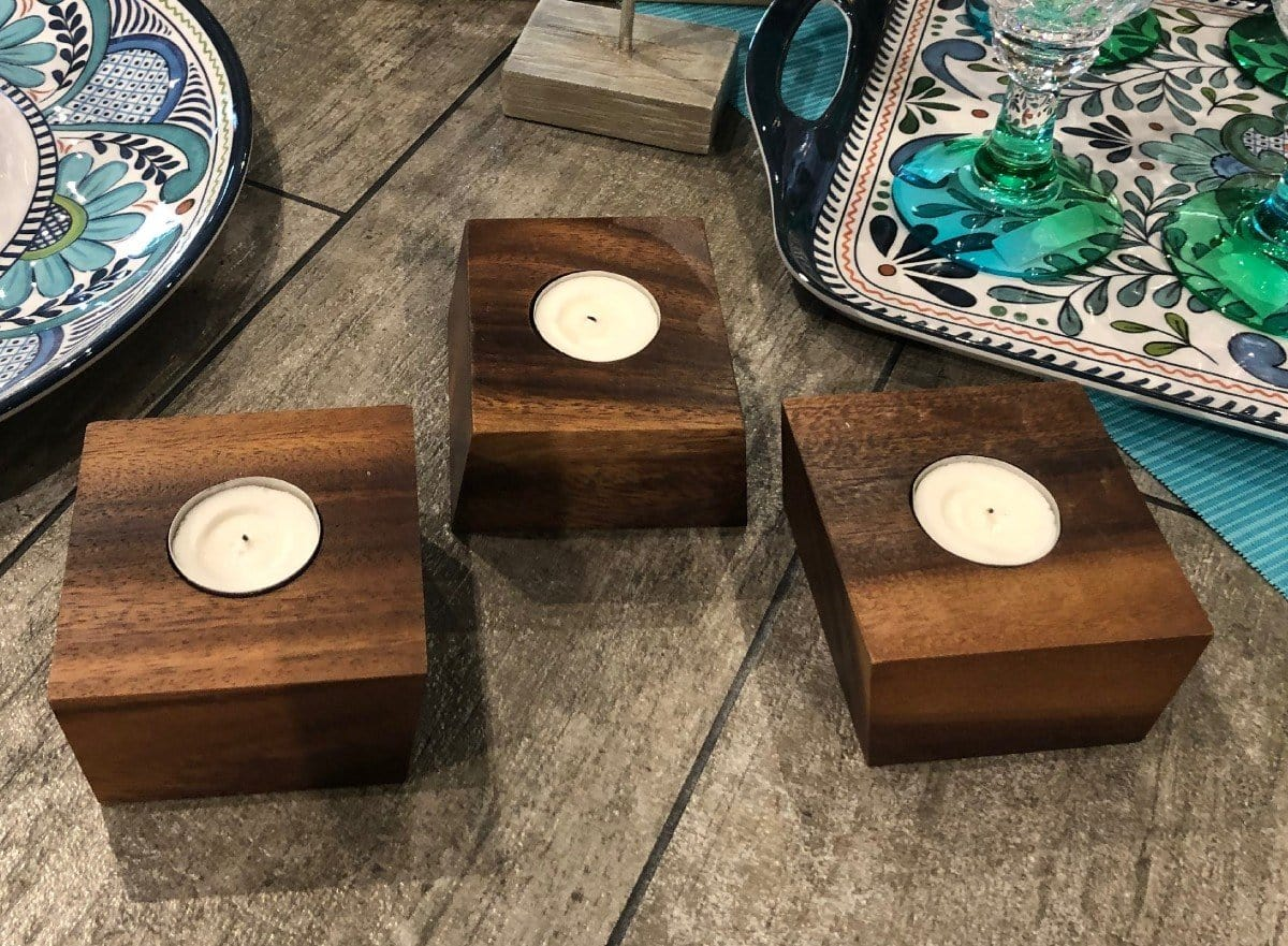 Set of 3 Acacia Wood Candleholders with Tealights