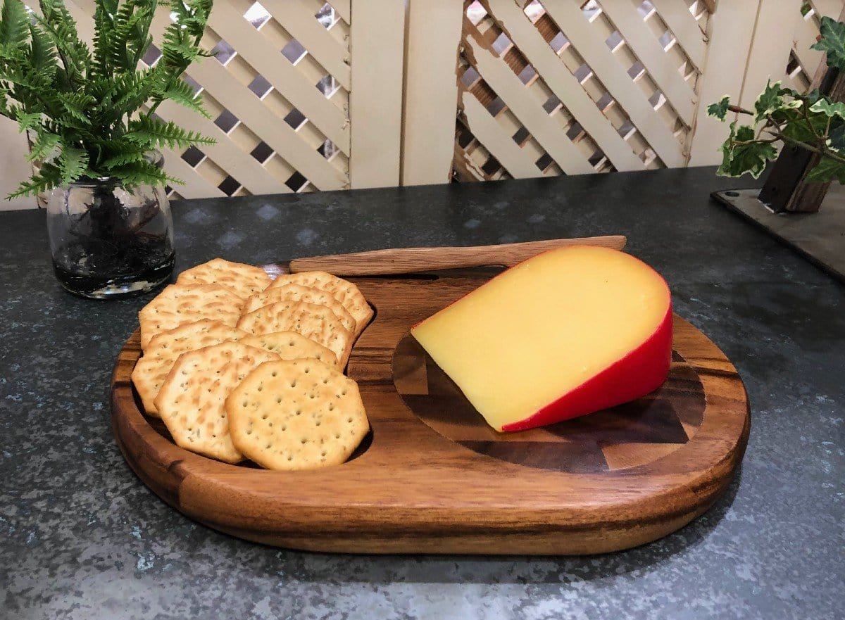 "12"" Acacia Wood Cheeseboard with End Grain Inlay (Knife Included)"
