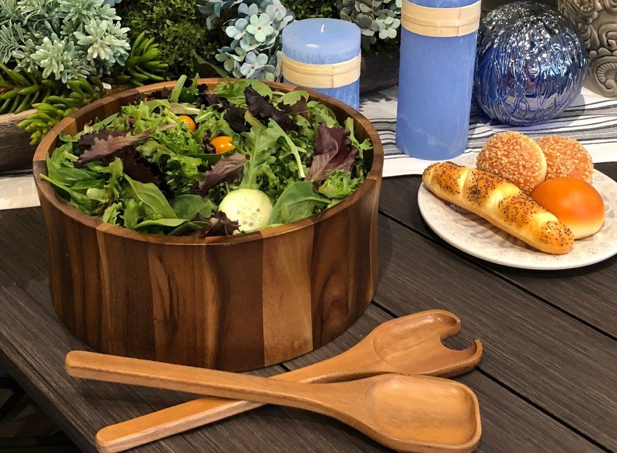 Acacia Wood Salad Bowl With Servers