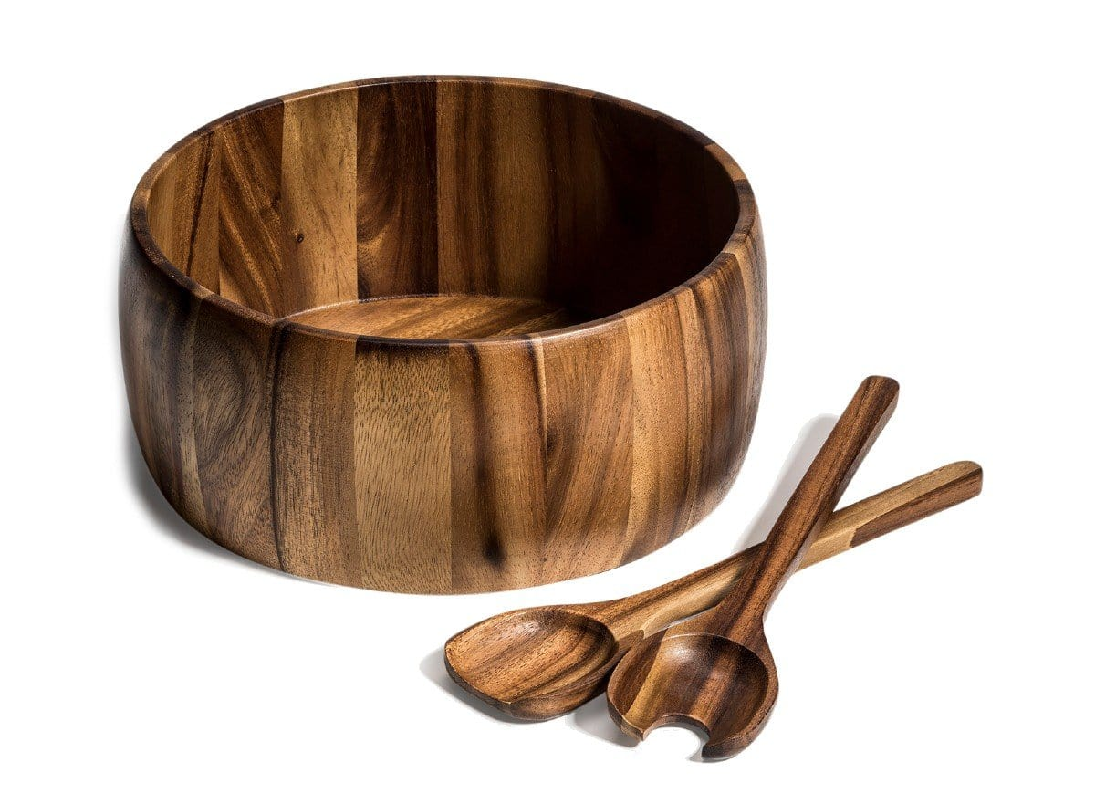 3 Piece - Extra Large Acacia Wood Salad Bowl & Server Set (332C-3)
