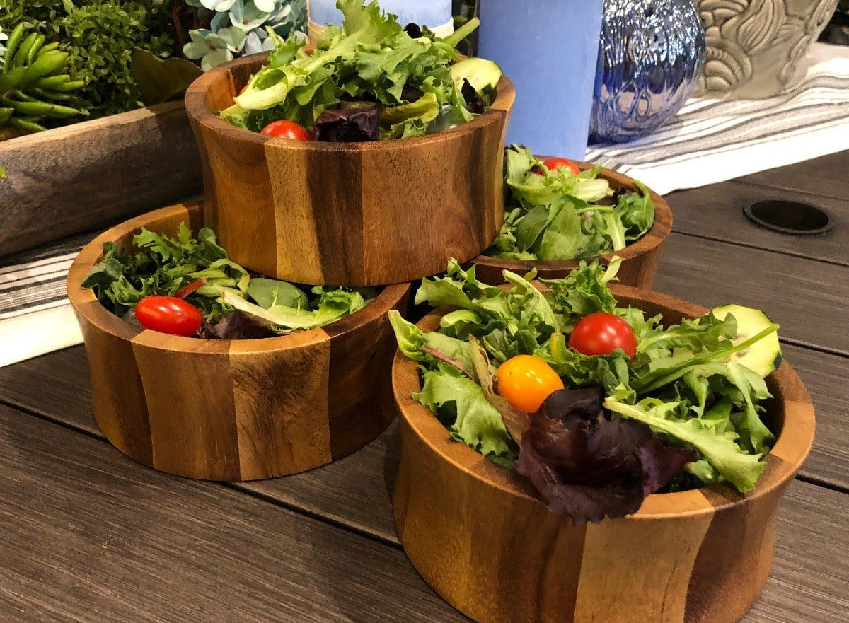 Set of 4 Acacia Wood Salad Bowls (328A-4)