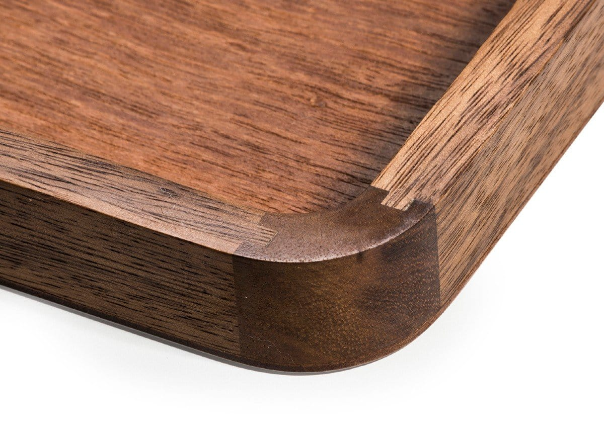 close up of acacia wood serving tray