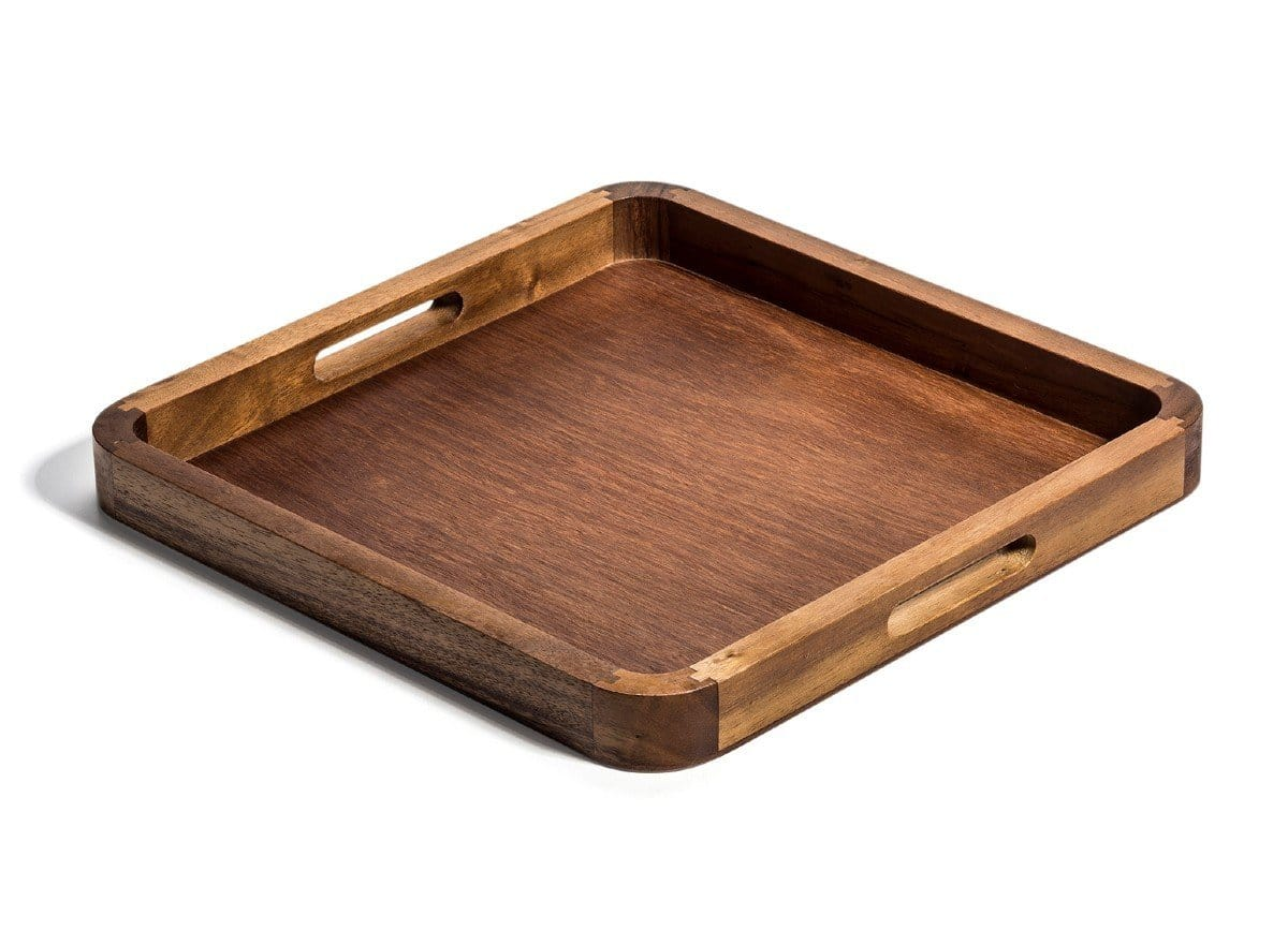 "14"" Square Acacia Wood Serving Tray with Handles"