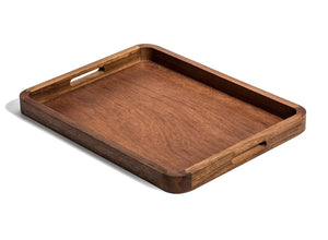 "18"" Rectangle Acacia Wood Serving Tray with Handles"