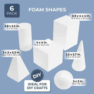 6x Foam Geometric Shapes for DIY Crafts Art Modeling, White, 2.5 to 5.9 Inches