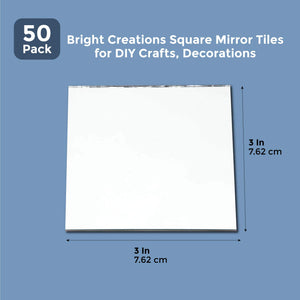 "50Pcs Craft Square Mirror Mosaic Tiles 3"" for DIY Projects Crafts Decorations"