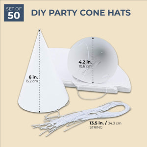 50-Pack White Plain DIY Party Cone Hats for Kids Birthdays and Parties