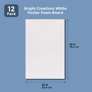 White Foam Poster Board for Crafts (20 x 30 In, 12 Pack)