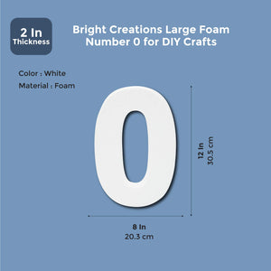 12 In Large Foam Styrofoam Number 0 Foam Number for Crafts School Projects