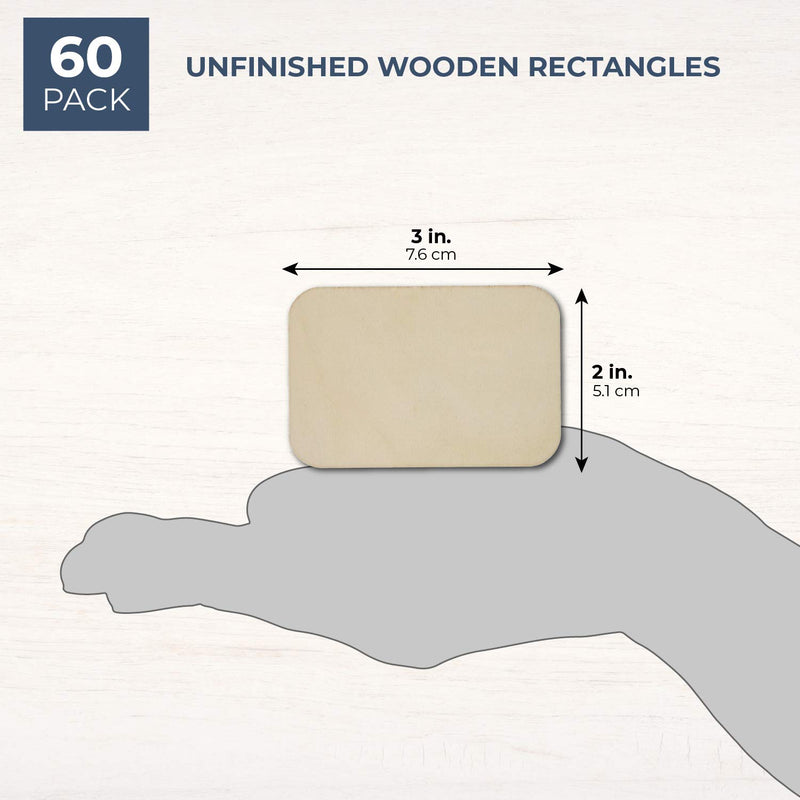 60 Pack Unfinished Wood Rectangles for DIY Crafts Wall Decoration, 2 x 3 Inches