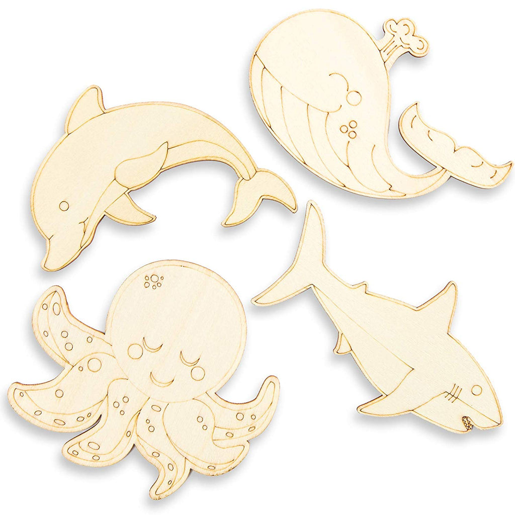 Unfinished Wood Cutouts for DIY Crafts (24 Pack), Ocean Animals