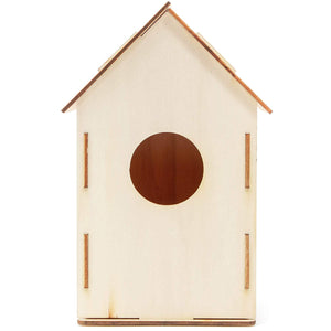 Mini Wood Bird Houses to Paint, DIY Crafts (8 Count), 4 Designs