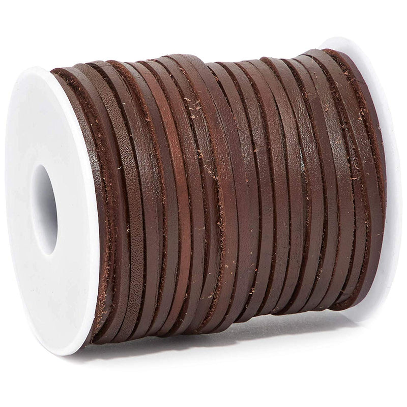 30.5 Yards 2.8mm Genuine Leather Cord String for Jewelry Making, Dark Brown