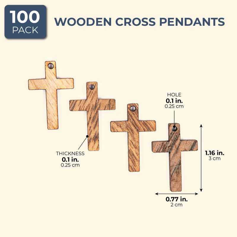 Bright Creations Small Wood Cross Pendants Charms (1 in, 100 Pack)