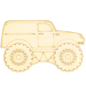 Monster Truck Wood Cutouts for Crafts (24 Pieces)