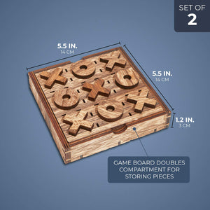 Tic Tac Toe Wood Board Game (2 Pack)