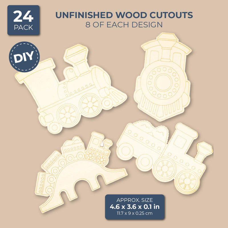 24x Unfinished Wood Trains Cutouts Wooden Pieces for Crafts Kids, 4.6 x 3.6 inch