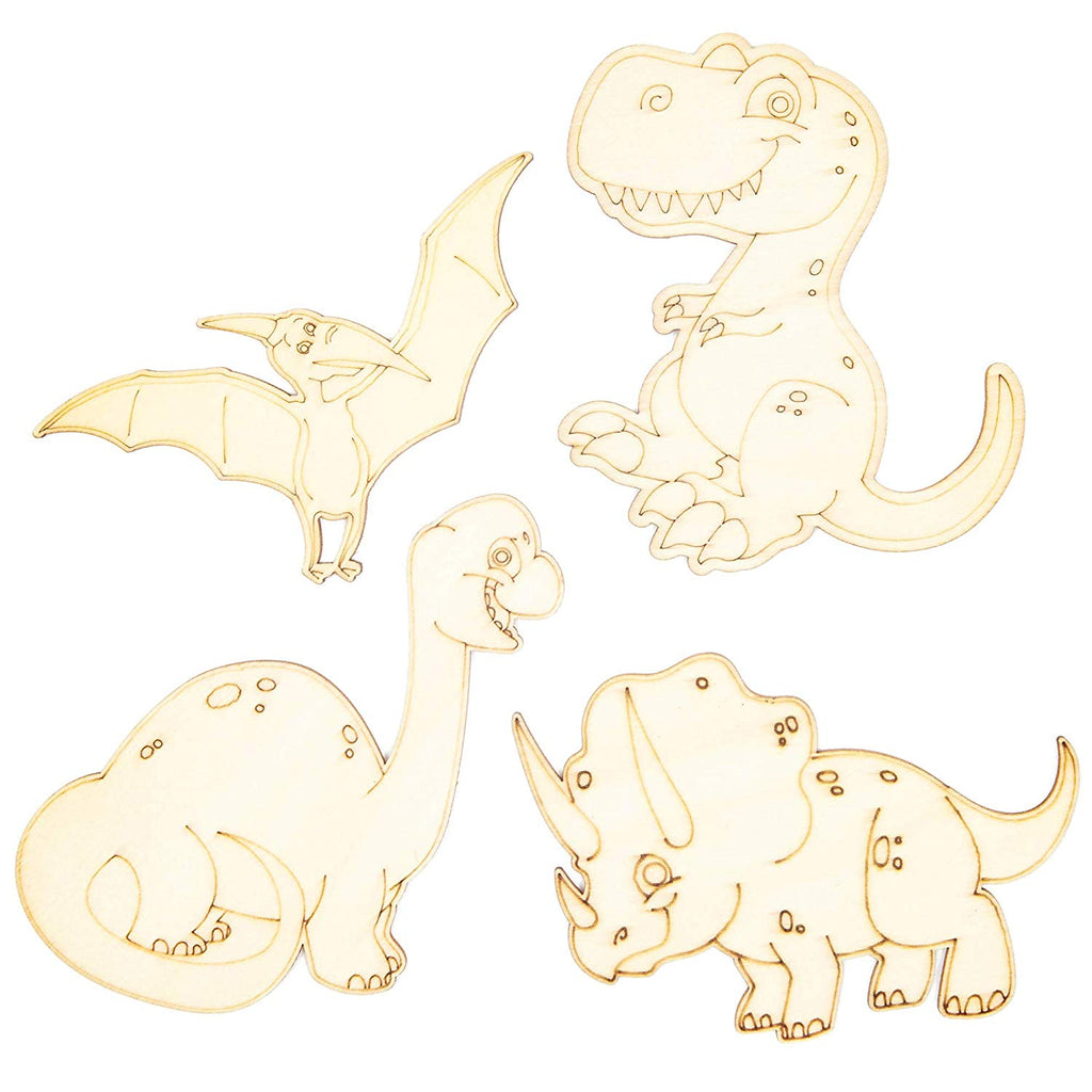 Wood Cutouts for Crafts, Dinosaur Cutouts (4 x 5 in, 24 Piece)
