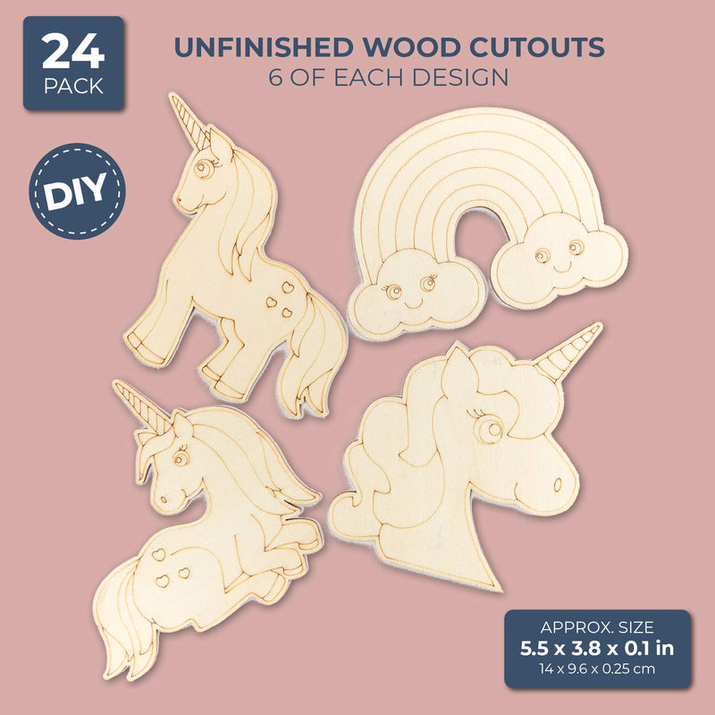 Unfinished Wood Cutouts for DIY Crafts (24 Pack), Rainbow Unicorn