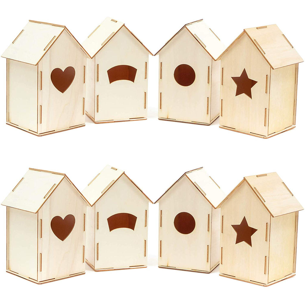 8x Mini Unfinished Wood DIY Birdhouse for Craft, Natural, 3.8 x 7 x 3.8 inch