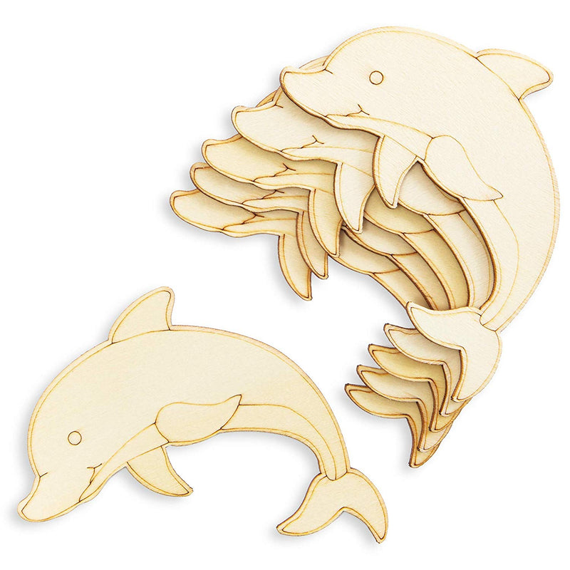 Bright Creations Unfinished Wood Cutouts for DIY Crafts (24 Pack), Ocean Animals