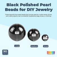Polished Silver Pearl Beads for DIY Jewelry, Arts, Crafts (3 Sizes, 90 Pieces)