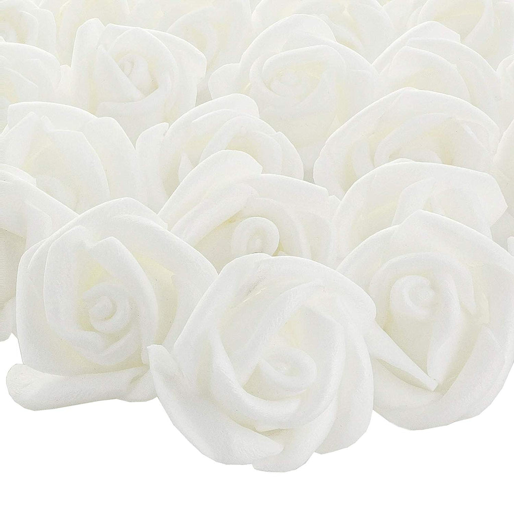 Bright Creations 200-Pack 1-Inch White Rose Flower Heads for DIY Crafts, Weddings, Decor