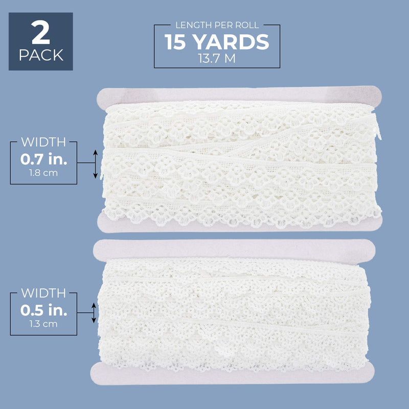 "2 Pack Bright Creations Crochet Lace Ribbon Trim, 0.5"" & 0.7"" x 15 yards, White"