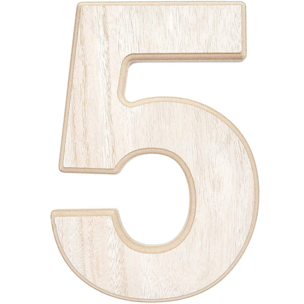 Wood Numbers for Crafts, Wooden Number 5 (12 in)