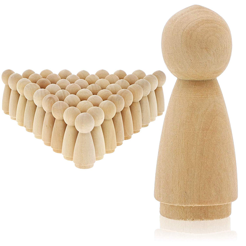 Bright Creations Wood Peg Woman Doll Bodies for DIY Crafts (50 Pack)