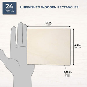 Wooden Cutouts for Crafts, Wood Rectangle (5.5 x 4.5 In, 24-Pack)