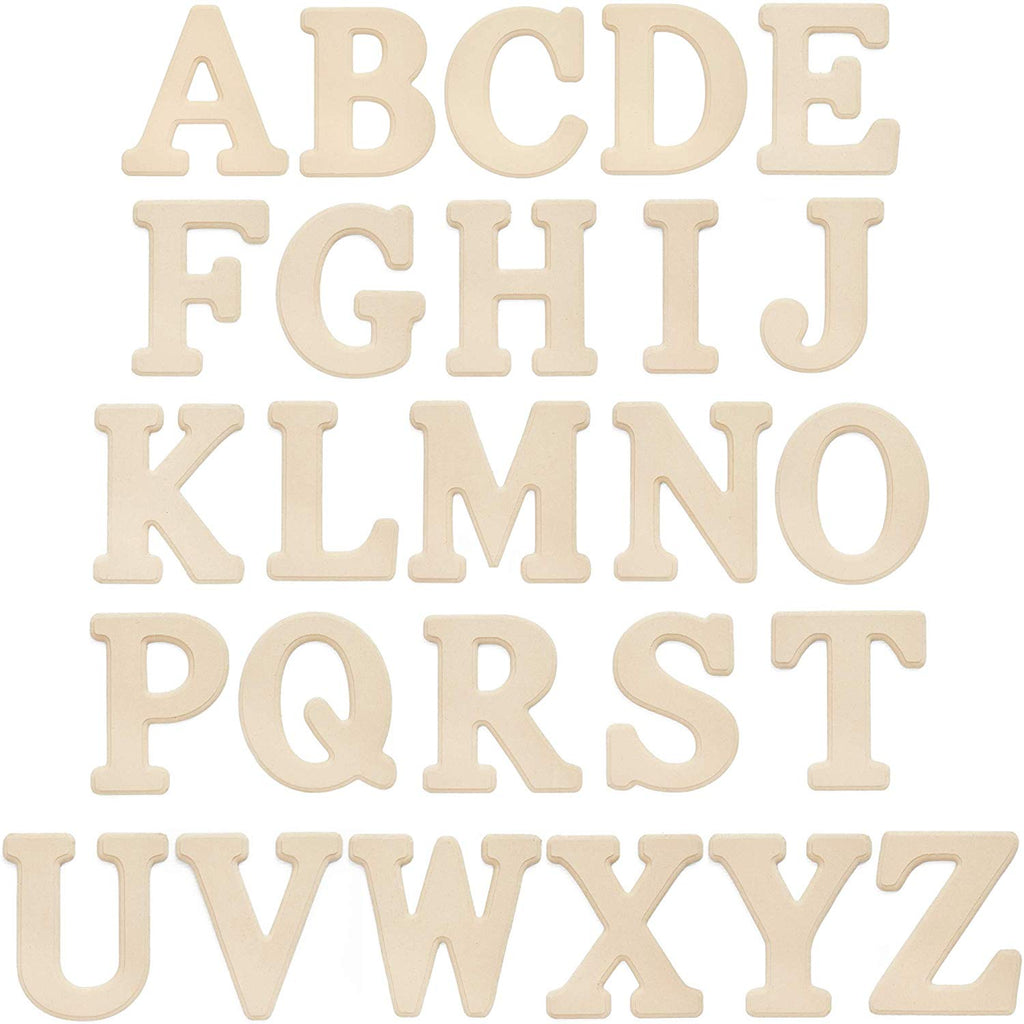 26 Count Wooden A-Z Alphabet Letters for Wedding Decoration, MDF Wood 6 x 5 inch