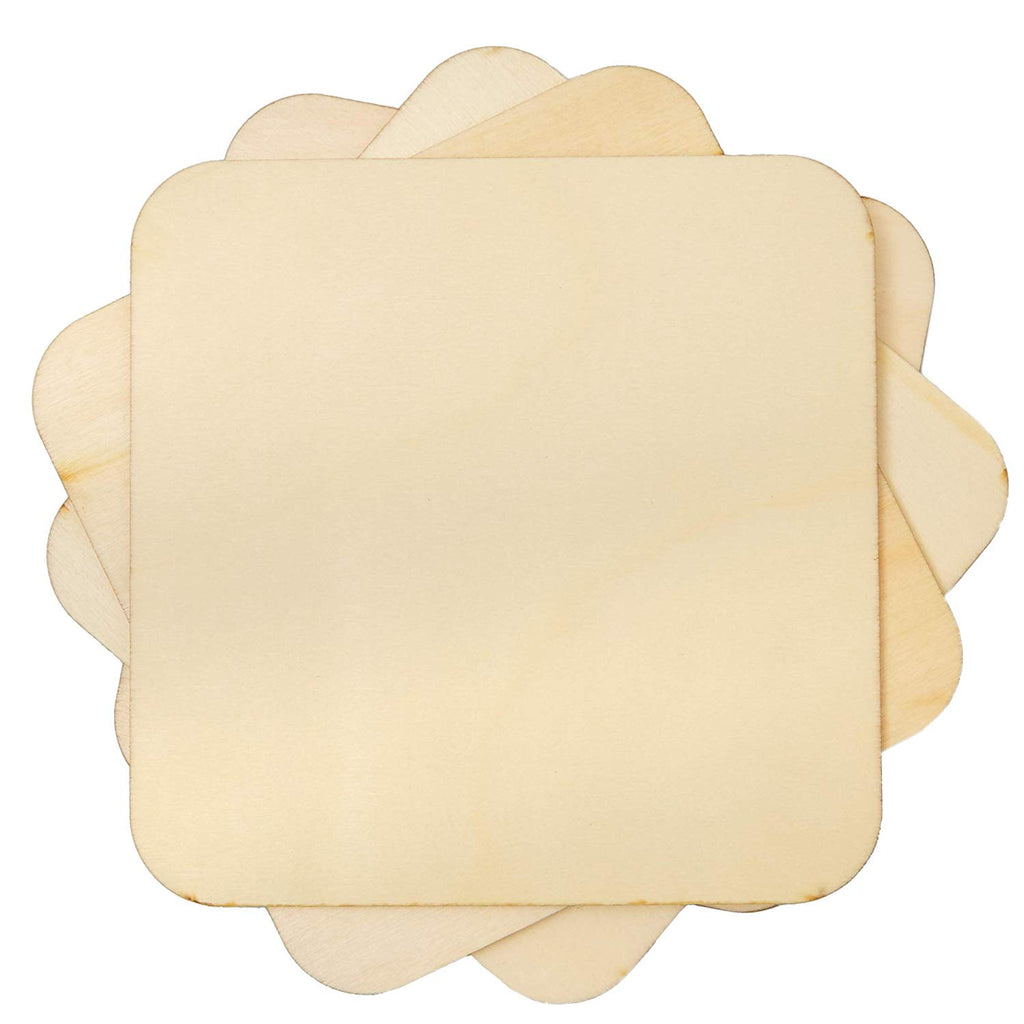 "Unfinished Wood 5.1"" X 5.1"" Square Cutouts (36 Pack)"
