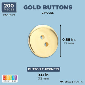 2 Hole Buttons, Sewing Supplies (Gold, 21 mm, 200 Pieces)