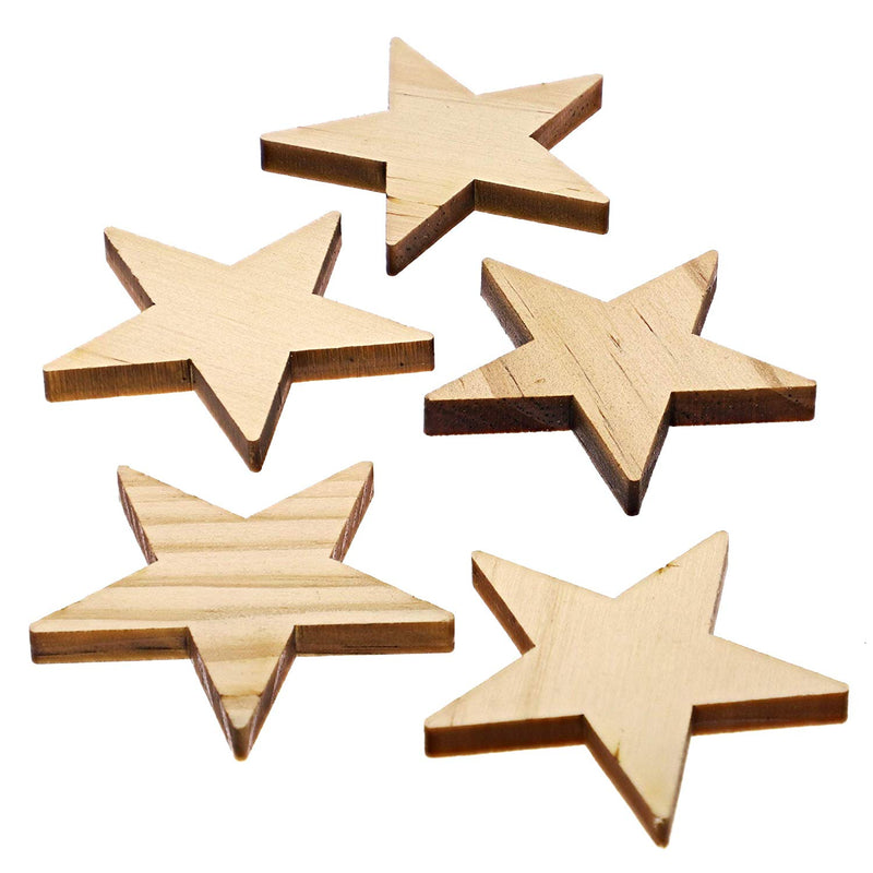 Bright Creations 50-Pack Unfinished Wood Star Pieces for DIY Crafts, 2 Inch