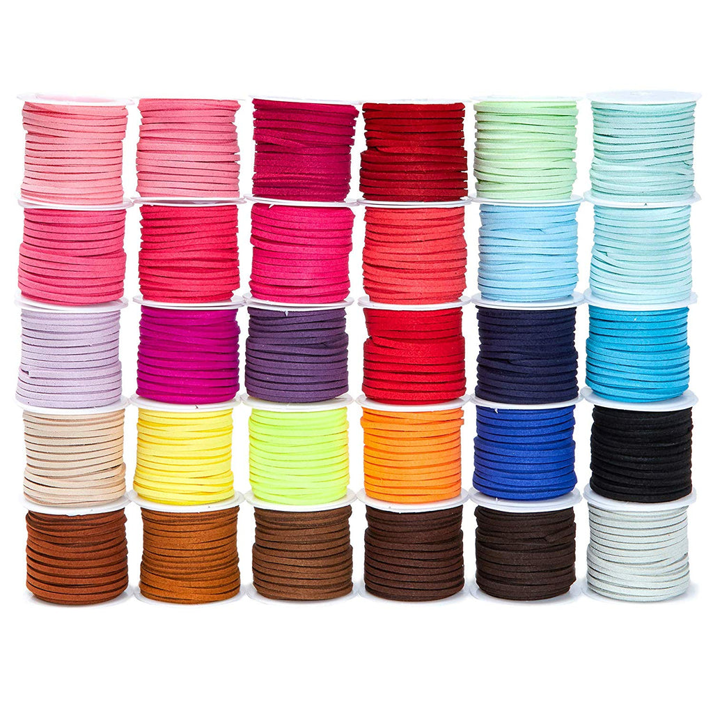 30 Pack 5.5 Yards Each 2.8mm Faux Suede Leather Cord String Crafts, 30 Colors