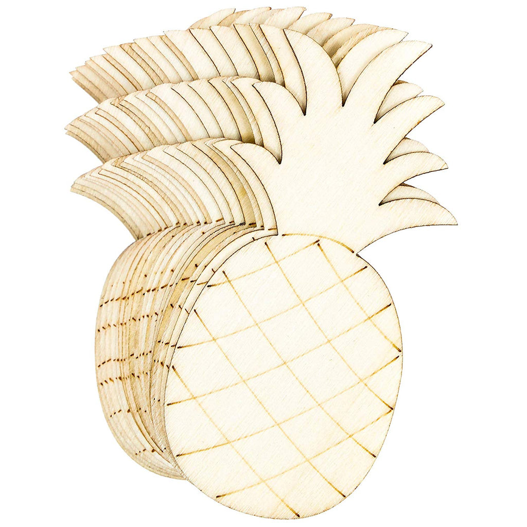Wood Cutouts for Crafts, Wooden Pineapple (2 x 4.3 in, 24-Pack)