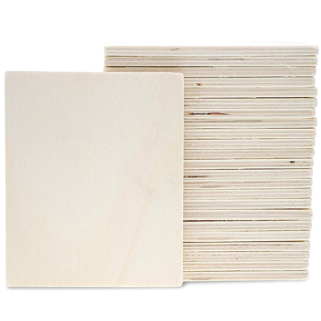 Unfinished Wood 5.5x4.5 In. Rectangle 24-Pack for DIY Crafts